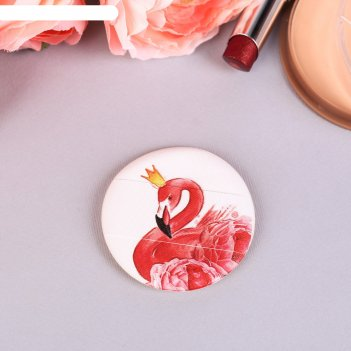 Спонж, пуховка для макияжа фламинго, с держателем, d=5,3*0,5см