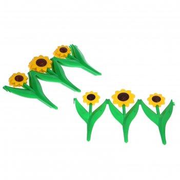 Ограждение декоративное, 32.5 x 225 см, 5 секций, пластик, жёлтый цветок «