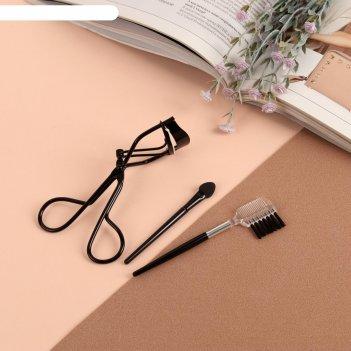 Набор д/макияжа 3пр: аппликатор, щётка д/ресниц, щипцы д/завивки ресниц чё