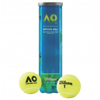 Мяч теннисный wilson australian open, арт.wrt119800, фетр,нат.резина, уп.4