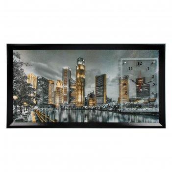 Часы-картина настенные, серия: город, ночной сингапур, 50х100  см, микс