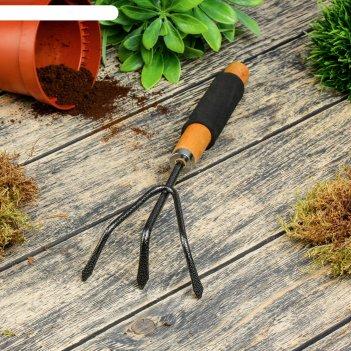 Рыхлитель, длина 30 см, 3 зубца, деревянная ручка с поролоном