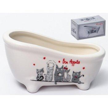 Ванночка для губки «коты-поварята» 6,7x12,5 см