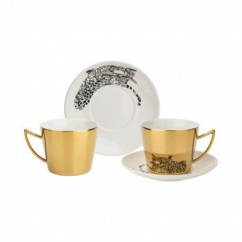 Кофейный набор leopard на 2пер. 4пр. 90мл, золотой (кор=12наб.)
