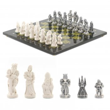 Шахматы средневековье змеевик 400х400 мм
