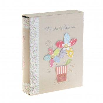 Фотоальбом на 200 фото 10х15 см цветочки в ярких горшочках в коробке, микс