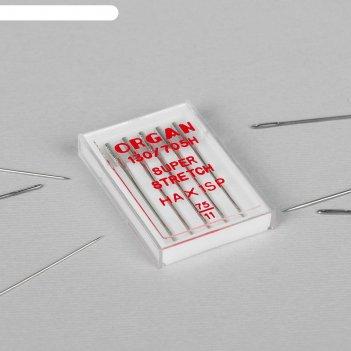 Иглы для бытовых швейных машин, для стрейч-ткани, №75/11, 5 шт