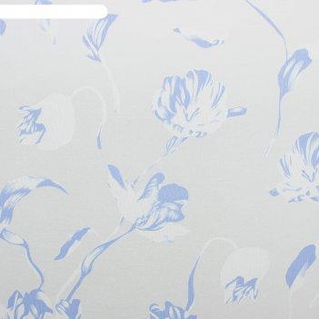Тюль этель цветочная иллюзия (голубой) без утяжелителя, ширина 135 см, выс