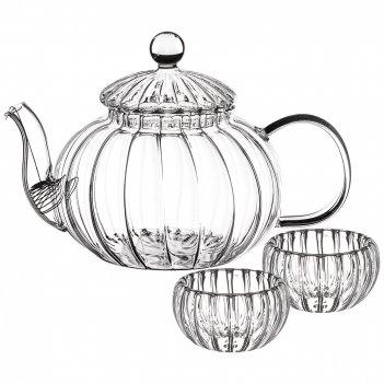 Набор чайный на 2 персоны: заварочный чайник 800 мл с фильтром + 2 чашки 5