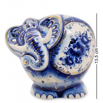 Гл-446 копилка слон золото (гжельский фарфор)