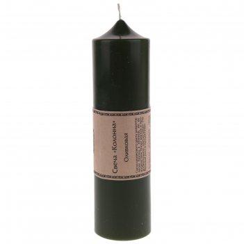 Свеча-колонна, 58 x 58 x 220 мм, цвет оливковый