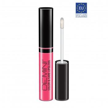 Блеск для губ demini color & care, тон 01 яркий розовый, лаковый