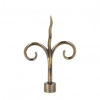 Наконечник «лилия», 2 шт, d=16 мм, цвет старое золото