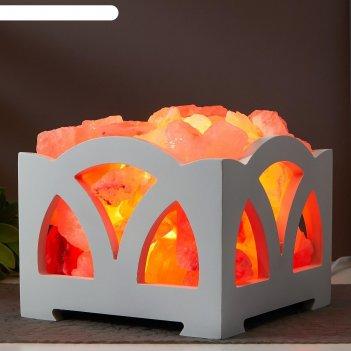 Соляной светильник с диммером  камин №5 белый е14 15вт 4-5 кг гимал. соль