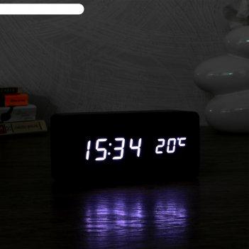 Часы электронные кержан с термометром, настольные, белые цифры, 15х7 см