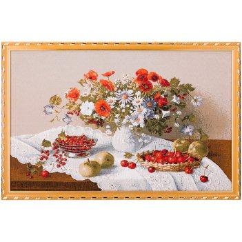 Гобеленовая картина цветы и ягоды 56х37 см