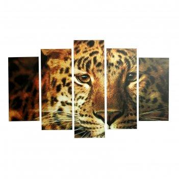 Модульная картина на подрамнике леопард, 2 шт. — 25x52, 2 шт. — 25x67, 1 ш