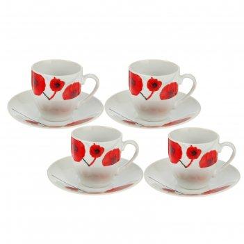 Сервиз кофейный на 4 персоны маки, чашки 90 мл