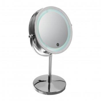 Зеркало с подсветкой luazon kz-12, 4*аа (не в компл), 17 диодов, настольно