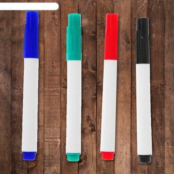 Маркеры на водной основе 4 шт, цвет черный, зеленый, синий, красный