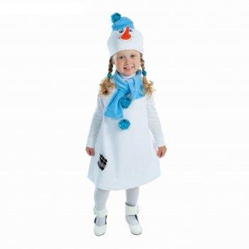 Карнавальный костюм снеговик белый с синей заплаткой комбинезон, шарф, шап