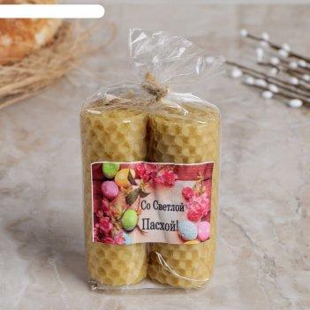 Набор свечей из вощины медовой с доб.эфирного масла корица 8 см, 2 шт со с