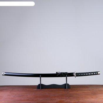 Катана сувенирная на подставке, дерево, черные ножны, глянец