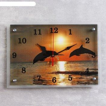 Часы настенные прямоугольные дельфины на закате, 25х35 см