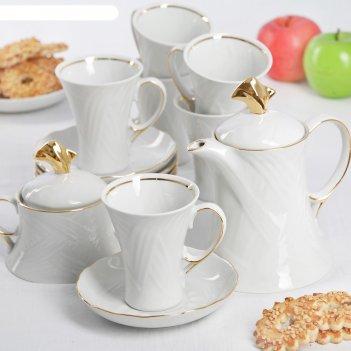 Сервиз чайный элегия, 14 предметов: чайник 600 мл, 6 чашек 220 мл, 6 блюде