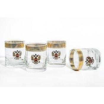 """Подарочный набор для виски """"герб"""": 4 стакана 275мл"""