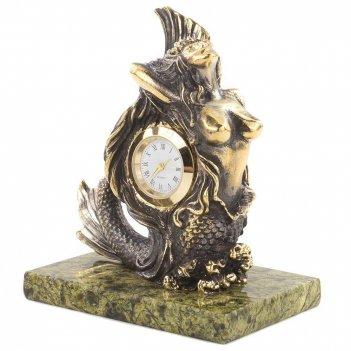 Часы русалочка змеевик бронза 85х60х100 мм 650 гр.