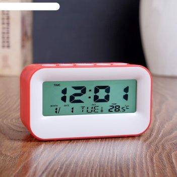 Часы электронные крета с будильником, с термометром и календарём, 11х6х4,5