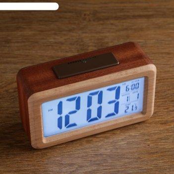 Часы электронные ламелия (будильник, дата, термометр) 14x8x5 см