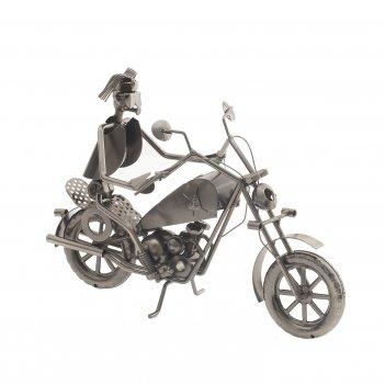 Подставка для бутылки мотоциклист, l31 w15 h23 см