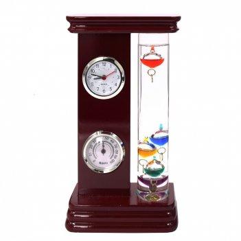 Метеостанция (часы, термометр, гигрометр, термометр галилея), l13 w6 h24 с