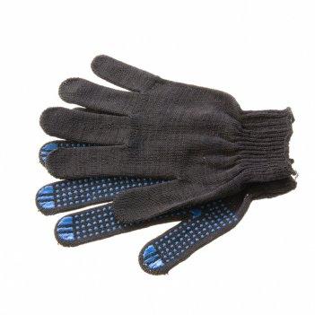 Перчатки трикотажные, пвх-покрытие точка, 10 класс, черные россия