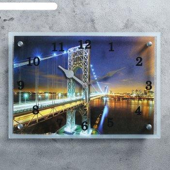 Часы настенные, серия: город, ночной мост, 25х35  см, микс