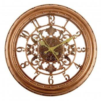 Часы настенные серия цифры, круг, цифры по кайме, рама бронза d=35см