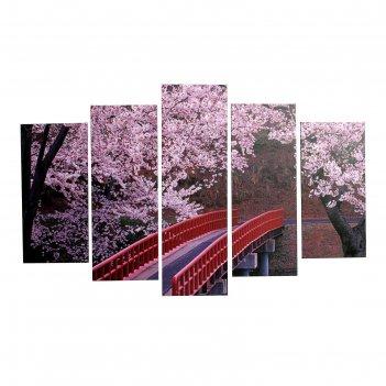 Картина модульная красный мост 2шт-25х52; 2шт-25х67; 1шт-25х80см  80*125 с