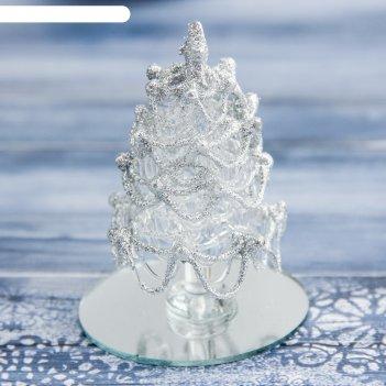 Фигурка стекло d-7,5 см елочка серебро
