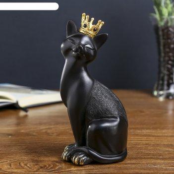 Сувенир полистоун чёрная кошка в золотой короне 19,5х8,5х7,5 см