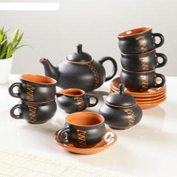 Сервиз орнамент чугун чайник 0,7л,сахарница 0,5л,сливочник 0,3л,чашка с бл