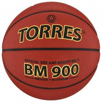 Мяч баскетбольный torres bm 900, р.7, темно-оранжево-черный