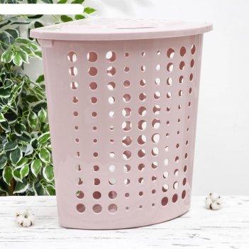 Корзина для белья угловая с крышкой «молетта», 45 л, цвет розовый