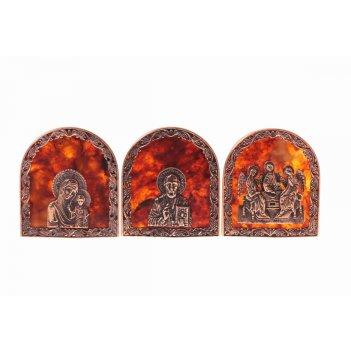 Иконки из янтаря в ювелирной бронзе