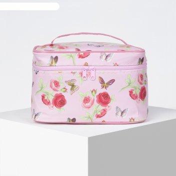 Косметичка-сундук цветы, 19*11*11,5см, отдел на молнии с зеркалом, розовый