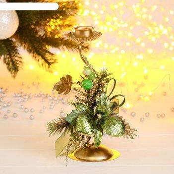 Подсвечник декор золото на одну свечу 12,5*8*19,7 см изгиб
