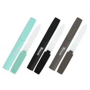 Пилочка 100 стеклян. 2-х стор. 100 мм. на цвет. пласт. ручке в чехле    (1