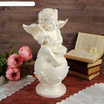 Статуэтка ангел на шаре со скрипкой большая, перламутровая