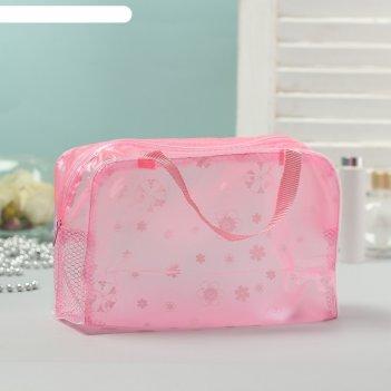 Косметичка банная, отдел на молнии, 2 ручки, цвет розовый